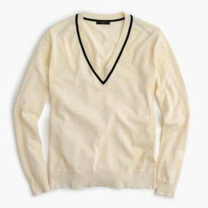 J.Crew V-Neck Summerweight Cream Sweater S